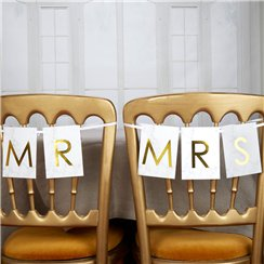 Scripted Marble 'Mr & Mrs' Wedding Chair Bunting