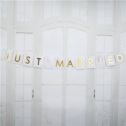 Scripted Marble 'Just Married' Wedding Car Bunting - 1m