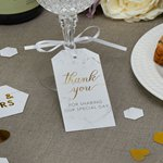 Scripted Marble Wedding Large Luggage Tags