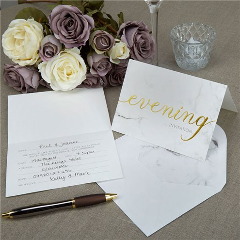 Scripted Marble Evening Wedding Reception Invites Party Invitation Cards