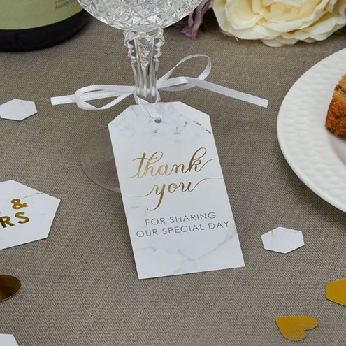 ee0706b70431 Scripted Marble Wedding Large Luggage Tags