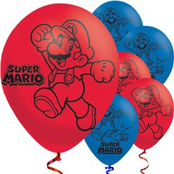 "Super Mario Red & Blue Balloons - 9"" Latex"