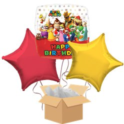 Super Mario Happy Birthday Balloon Bouquet - Delivered Inflated