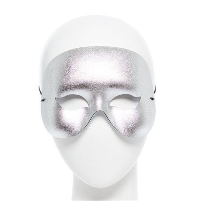 Cocktail Silver Masquerade Mask for Men - Venetian Mask front