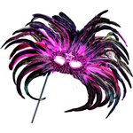 Magenta & Black Feather Masquerade Mask on Stick