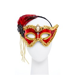 Red & Gold Masquerade Mask with Feathers & Beads