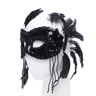 Black  Masquerade Mask for Women - Venetian Mask with Feathers & Beads back