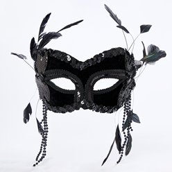 Black Masquerade Mask with Feathers & Beads