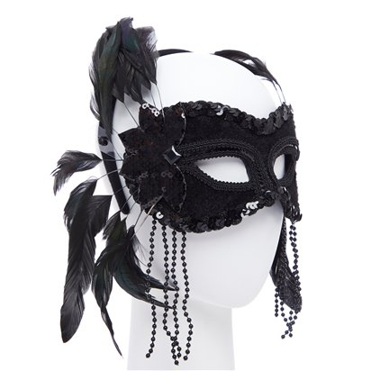 Black  Masquerade Mask for Women - Venetian Mask with Feathers & Beads left