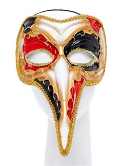 Red & Gold Long Nose Masquerade Mask