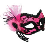 Pink & Black Masquerade Mask with Beads