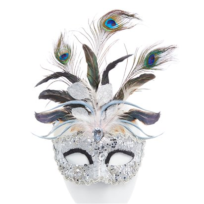 Silver Masquerade Mask with Glitter & Peacock Feathers -  Women Venetian Mask front