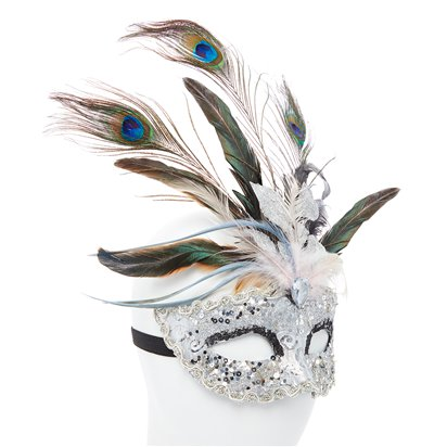 Silver Masquerade Mask with Glitter & Peacock Feathers -  Women Venetian Mask left