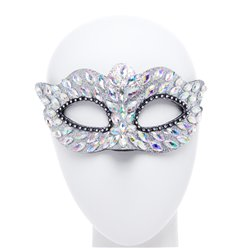 Silver Masquerade Mask with Gems & Rhinestones