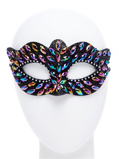 Black Masquerade Mask with Gems & Rhinestones
