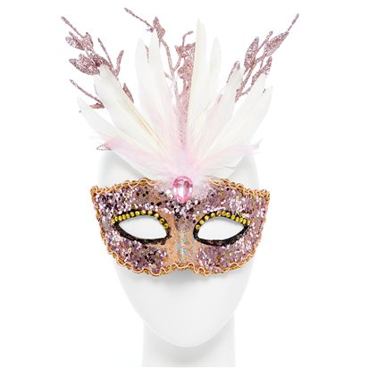 Glitter Pink Masquerade Mask - Masquerade Mask - Fancy Dress Accessories front