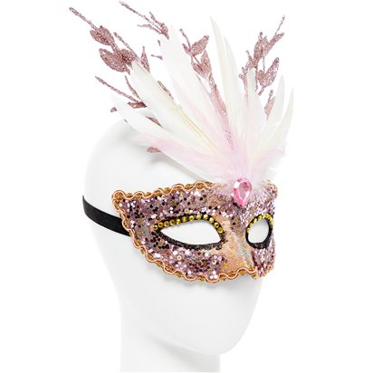 Glitter Pink Masquerade Mask - Masquerade Mask - Fancy Dress Accessories left