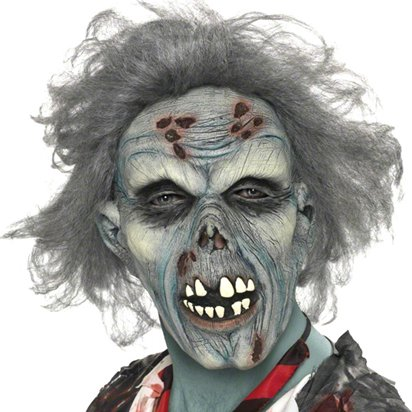 Zombie Mask with Hair - Adult Halloween Mask front