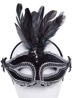 Black Velvet Masquerade Mask with Feathers