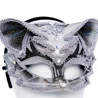 Cat Silver & Black Masquerade Mask for Women - Venetian Mask with Jewels back