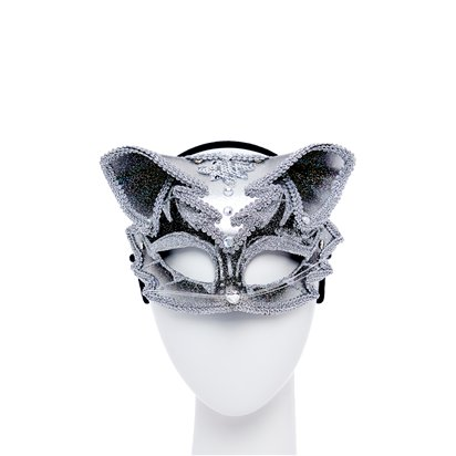 Cat Silver & Black Masquerade Mask for Women - Venetian Mask with Jewels front