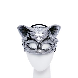 Cat Jewelled Masquerade Mask - Black & Silver
