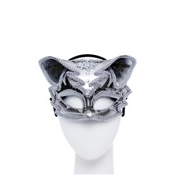 Silver & Black Jewelled Cat Masquerade Mask