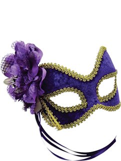 Purple & Gold Masquerade Mask with Flowers