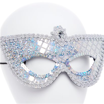 Silver Sequin Masquerade Mask for Women - Venetian Mask back
