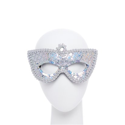 Silver Sequin Masquerade Mask for Women - Venetian Mask front