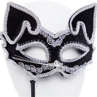 Cat Silver & Black Masquerade Mask for Women - Venetian Masquerade Masks on Sticks back