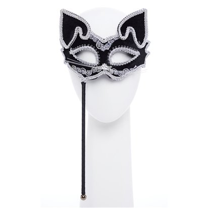 Cat Silver & Black Masquerade Mask for Women - Venetian Masquerade Masks on Sticks front