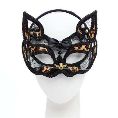 Leopard Black Lace Masquerade Mask for Women - Venetian Mask - Cat Mask front