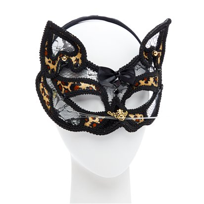 Leopard Black Lace Masquerade Mask for Women - Venetian Mask - Cat Mask left