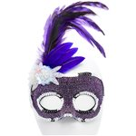 Purple Masquerade Mask with Side Feathers