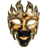 Black & Gold Glazed Masquerade Mask (full face
