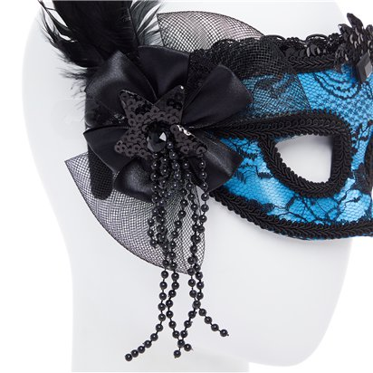 Blue Masquerade Mask for Women - Venetian Mask with Feathers back