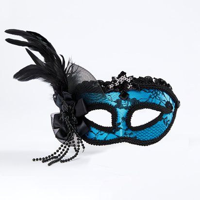Blue Masquerade Mask for Women - Venetian Mask with Feathers front