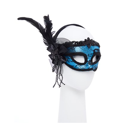 Blue Masquerade Mask for Women - Venetian Mask with Feathers left