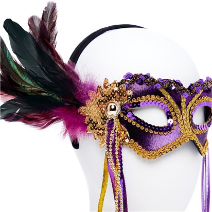 Purple & Gold Masquerade Mask for Women - Venetian Mask with Feathers back