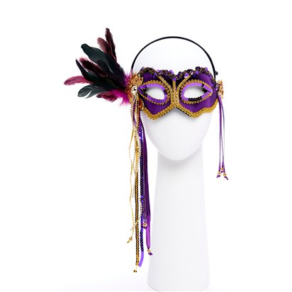 Purple & Gold Masquerade Mask for Women - Venetian Mask with Feathers front