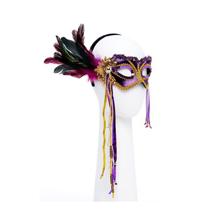Purple & Gold Masquerade Mask for Women - Venetian Mask with Feathers left