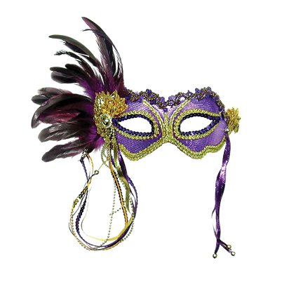 Purple & Gold Masquerade Mask for Women - Venetian Mask with Feathers pla