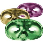 Mardi Gras Metallic Masquerade Masks - Assorted Colours