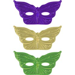 Mardi Gras Metallic Butterfly Masquerade Mask - Assorted Colours