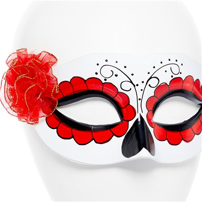 Day of the Dead White Masquerade Mask for Women - Venetian Mask with Flowers - Halloween Mask back