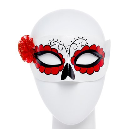 Day of the Dead White Masquerade Mask for Women - Venetian Mask with Flowers - Halloween Mask front