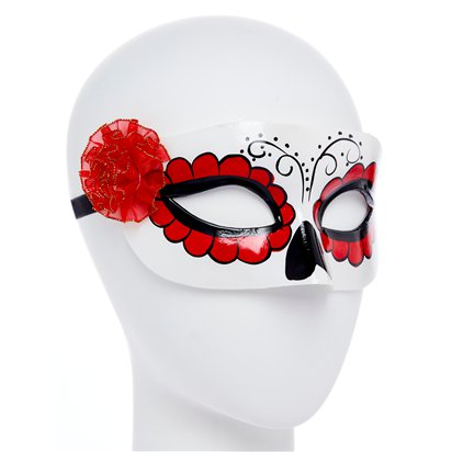 Day of the Dead White Masquerade Mask for Women - Venetian Mask with Flowers - Halloween Mask left