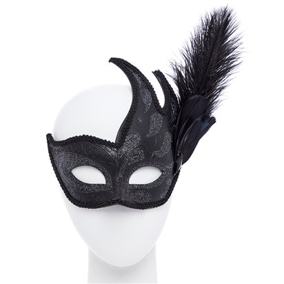 Ornate  Black Masquerade Mask for Women - Venetian Mask with Feathers front