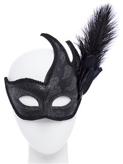 Ornate Black Masquerade Mask with Feathers